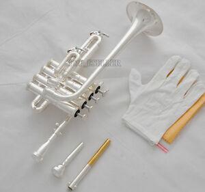 Professional-New-Silver-Piccolo-Trumpet-4-Piston-Horn-Bb-A-2-Leadpipe-Mouthpiece