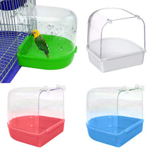 Bird Water Bath Tub For Pet Bird Cage Hanging Bowl Parrots
