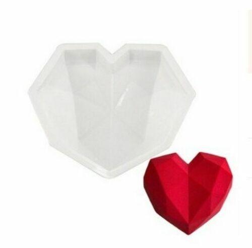 Heart Silicone Mold Cake Decorating Baking Tool 3d Diamond Geometric Heart Mold