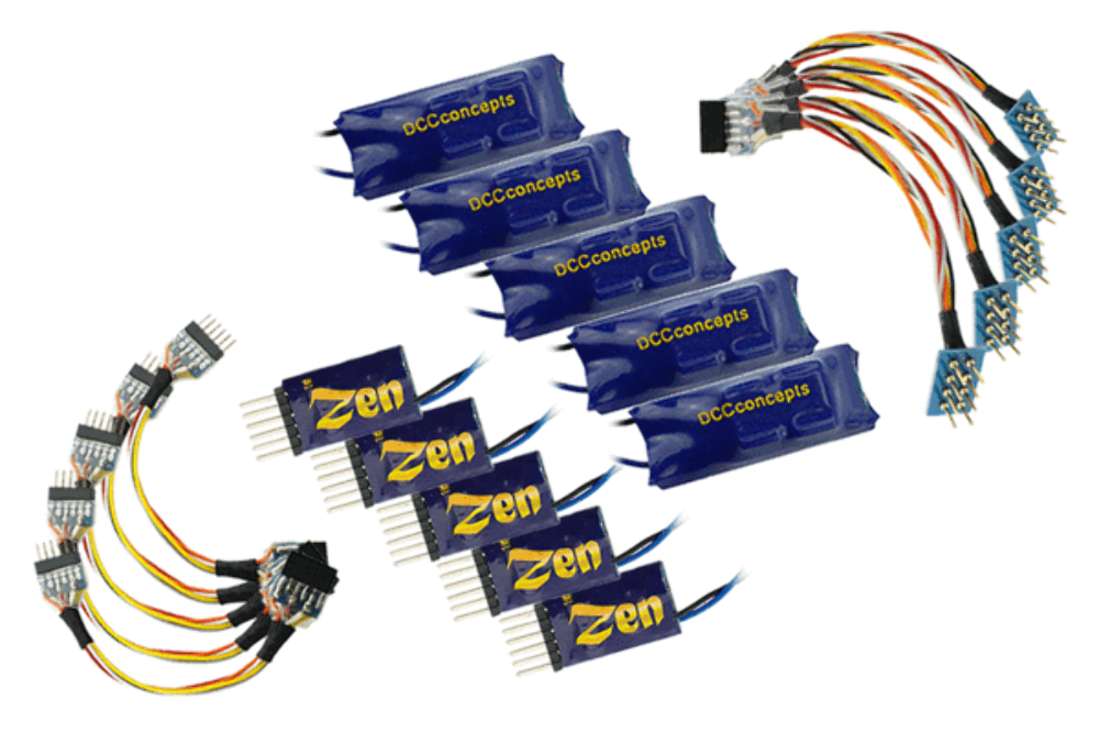 DCC Concepts ZEN 6 PIN ZN68 2 Function Decoder w Stay Alive – Singles or 5