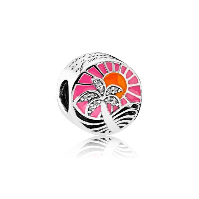Authentic Pandora Silver Charm Tropical Sunset, Mixed Enamel Bead 792116ENMX