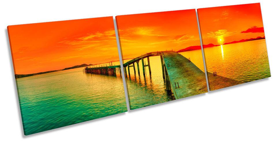 Sunset Pier Jetty Seascape TREBLE CANVAS WALL ART Box Frame Picture