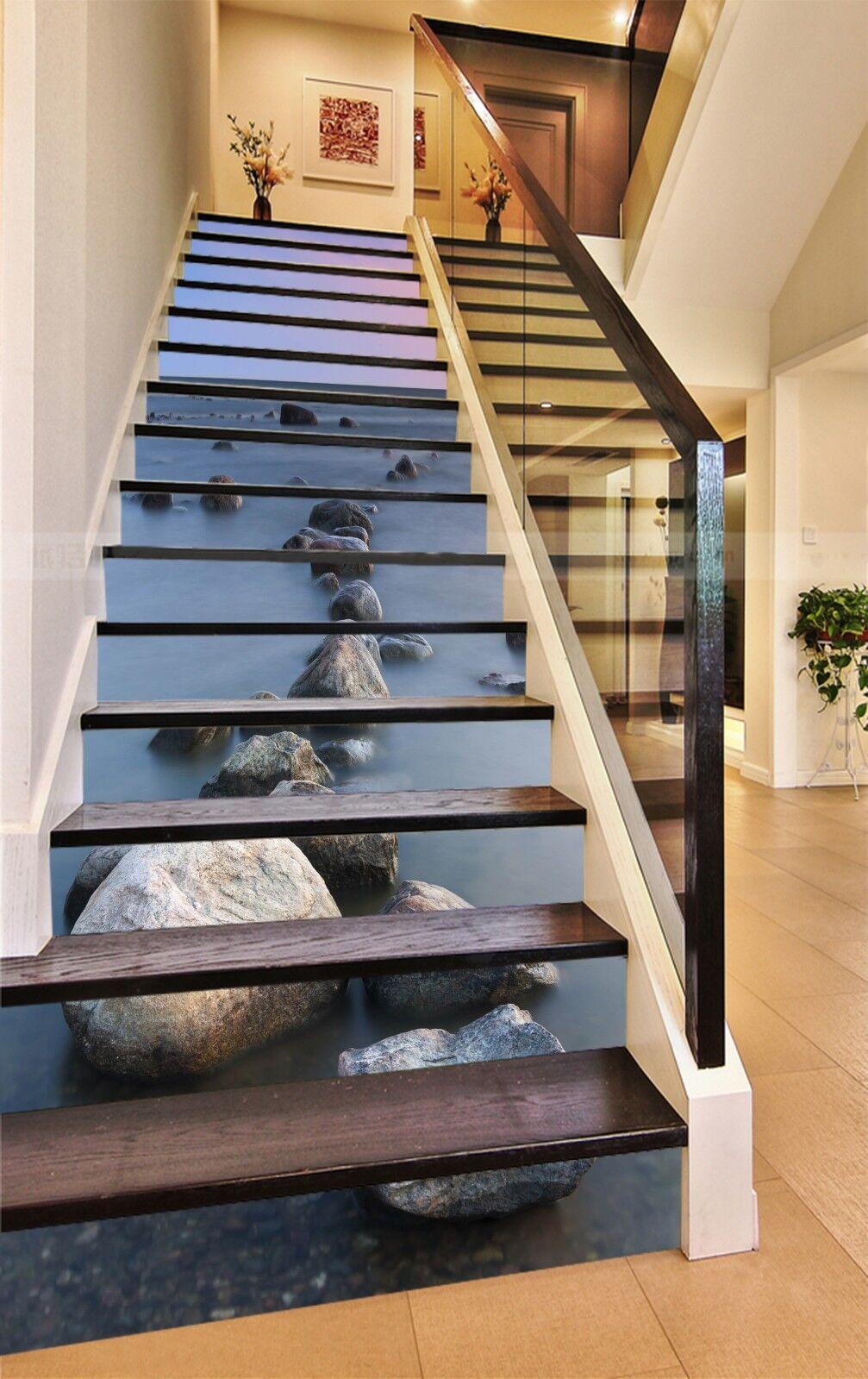 3D Meer Steine 128 Stair Risers Dekoration Fototapete Vinyl Aufkleber Tapete DE