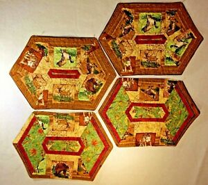 Quilted-Pieced-Placemats-Set-Of-4-Forest-Animals-Handmade-19-034-x13-034-Wilderness