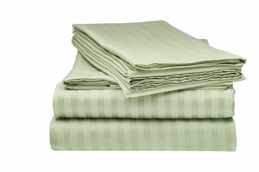 Sage Stripe  100% Egyptian Cotton 4 PCs Bed Sheet Set USA Sizes 600- TC