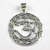 1 Pcs Beautiful Round Shape Aum (om) Pendant 925 Sterling Silver Black Oxidize