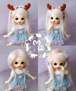 "5-6/"" 14cm BJD fabric fur wig Pure White hair for AE PukiFee lati 1//8 Doll"
