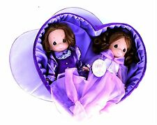 "Precious Moments Disney 9"" Doll Set Beast & Belle in Lavender Heart Box No. 5037"