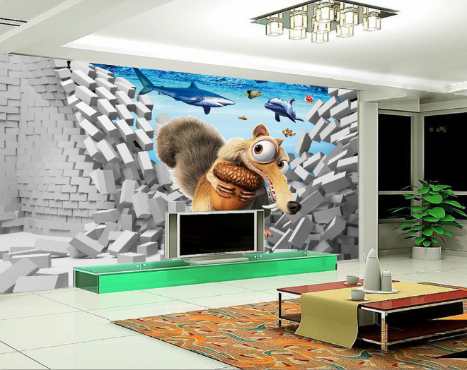 3D Raccoon Dolphins 87 Wall Paper Murals Wall Print Wall Wallpaper Mural AU Kyra