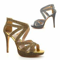 Womens Diamante Glitter Strappy Platform Party Sandals Stiletto High Heel Zip Uk