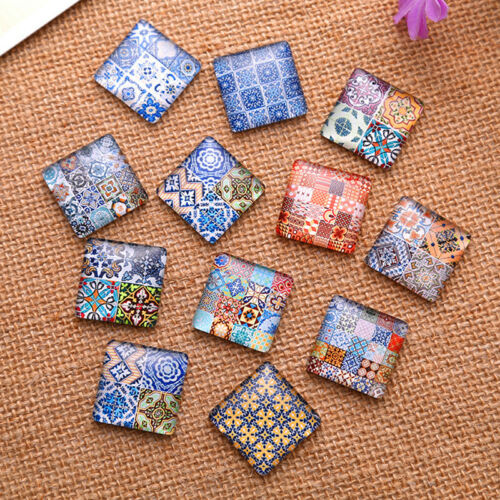 Square Mixed Flower Fleur Patterns Glass Cabochons Dome Seals Jewelry Findings