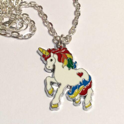 Unicorn Necklace Magical Rainbow White Enamel Charm Pendant Silver Plated Chain