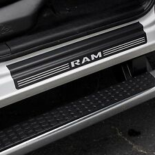 Door Sill Plate Protectors Black Matte fits Dodge Ram Truck 2500 2015 2016 2017