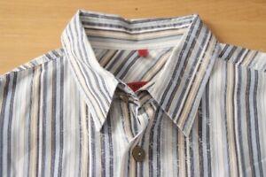 Q249-Signum-Red-Gr-M-gestreift-blau-weiss-gelb-Herren-Hemd-Kurzarm-Herrenhemd