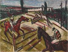 SHOW JUMPING IMPRESSIONIST Signed Aquatint Etching G ANGUS AIRWICK 1985 HORSES