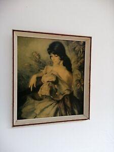 Mid-Century-Signed-Art-Print-by-Spanish-Painter-Francisco-Ribera-Retro-Kitsch