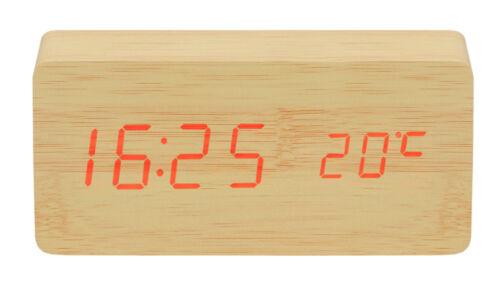 LED Wecker Holzoptik Thermometer Datum Uhrzeit 4xAAA USB Kabel Elegant 7037