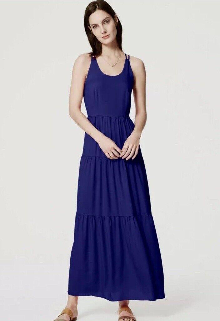 NWT Womens Ann Taylor LOFT bluee Sleeveless Tiered Strappy Maxi Dress Sz 10