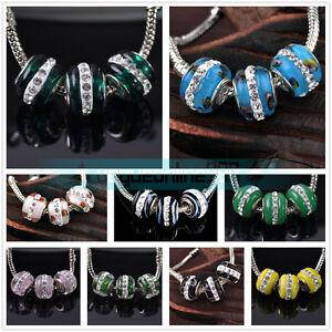 10Pcs-14x10mm-Rhinestones-Murano-Lampwork-Glass-European-Loose-Big-Hole-Beads
