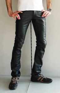 Jean en Cuir Pantalon en Cuir Slim Fit Étroit Cinq Poche Jeans