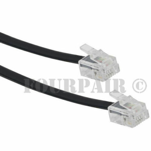 50ft Telephone Line Cord Cable Wire 6P4C RJ11 DSL Modem Fax Phone to Wall Black