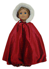 "18/"" Dolls Christmas Outfit Red velvet Cape with Fur fits American Girl Dolls"