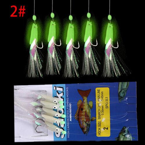 5Pcs//Set Carbon Steel Lure Sea Fishing Luminous Fishing Hook Bait Fishing Wire