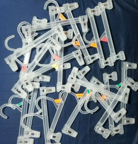 """Lot 20 Clear Plastic Clothes Hangers Child Pants Skirt 10/"""" Pinch Clips SHIP FAST"""