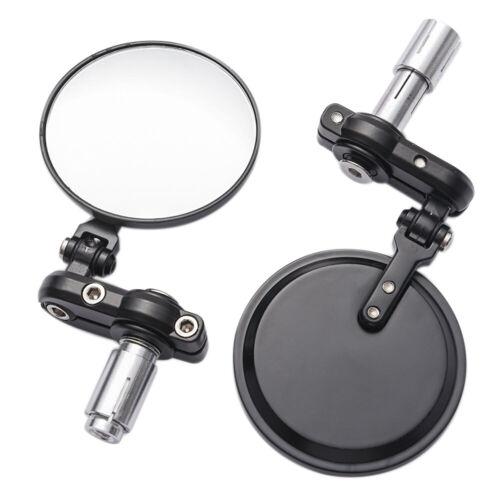 "Black 3/"" Round 7//8/"" Handle Bar End Rearview Mirror For Yamaha FZ-09 FZ-07 FZ6N"