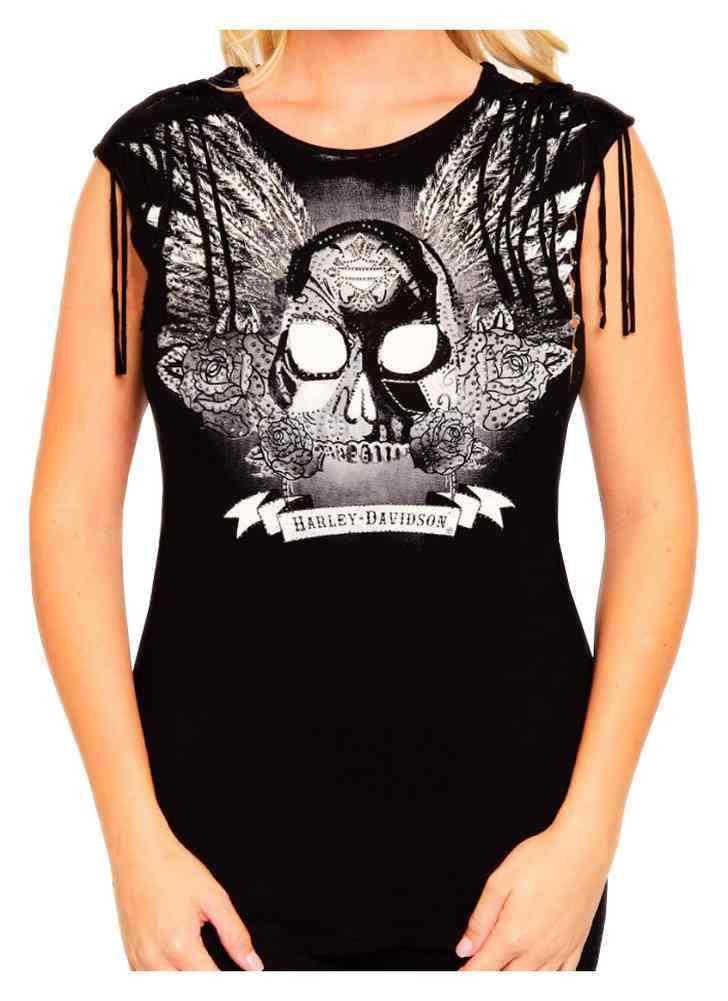 Harley-Davidson Woherren Embellished Onyx Winged Skull Sleeveless Top, schwarz