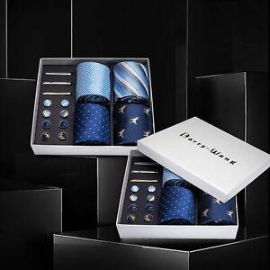 Men-Blue-Dinosaur-Paisley-Silk-Tie-Wedding-Necktie-Handkerchief-Gift-Box-Set-4pc