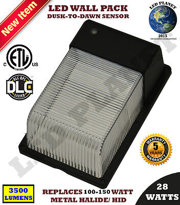 LED Wall Pack 13Wt Outdoor Dusk to Dawn Sensor ETL DLC  Replaces 100W HID 5700K