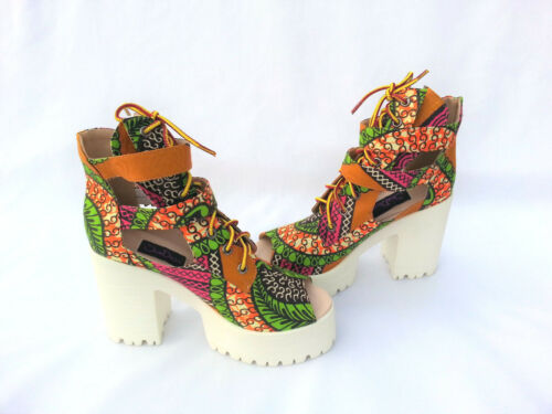 Women/'s Shoes African Print Ankara UK Size 3,4,5,6,7