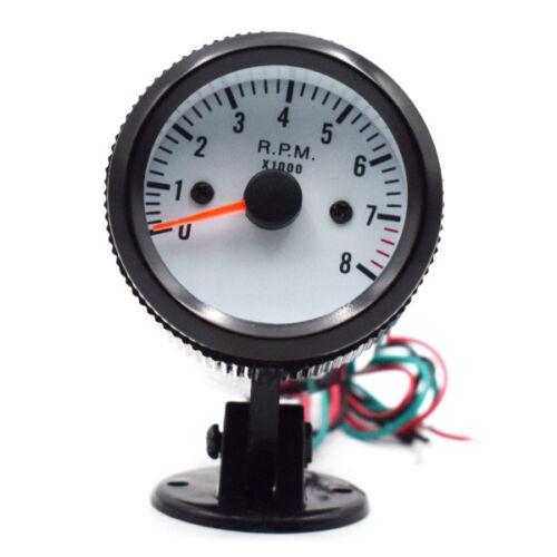 Tachometer Tach Gauge w// Holder Cup blue LED for Auto Car 2/'/' 52mm 0~8000RPM kit