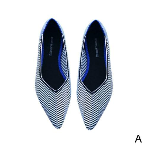 Women Pointed Toe Flats Casual Environmental Shoes Comfotable Shallow Strip P2P6
