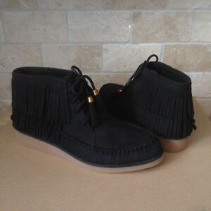0ea83af89fa Details about UGG Caleb Black Fringe Leather Ankle Wedge Boots Booties Size  US 5.5 Womens NIB