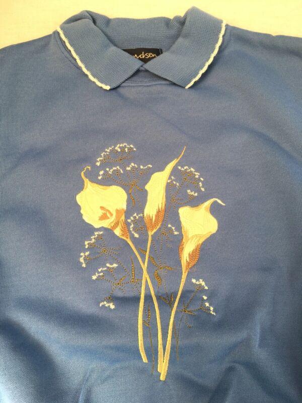 Amundsen Sweatshirt, Flowers Embroidery, Size L, Blue