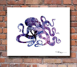 "Purple Octopus Abstract Watercolor Painting 11"" x 14"" Art ..."