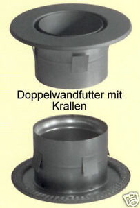Doppelwandfutter mit Krallen und 50mm Rosette Ø120mm gussgrau