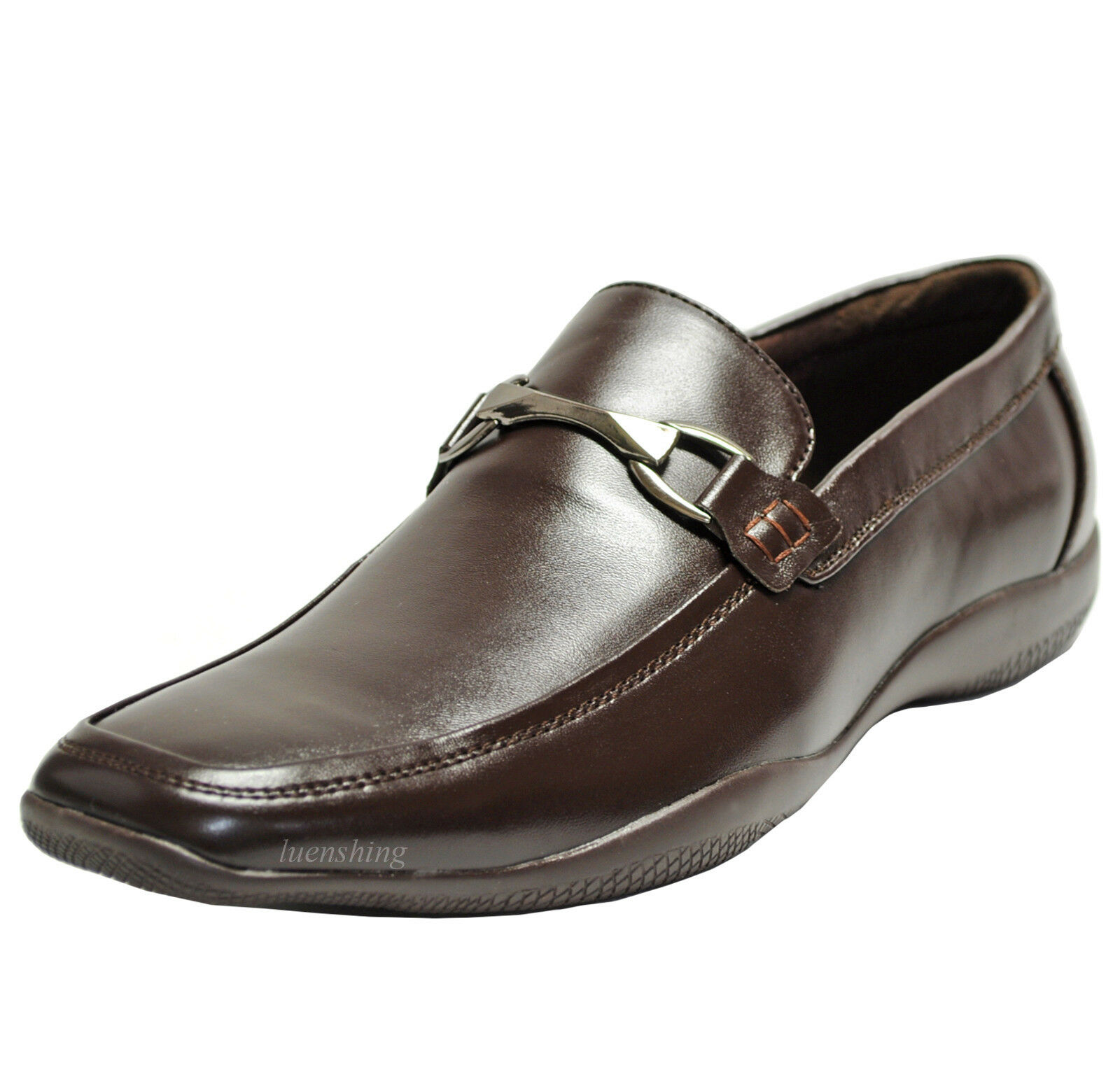 New men's shoes casual fashion slip on style loafers leather like brown