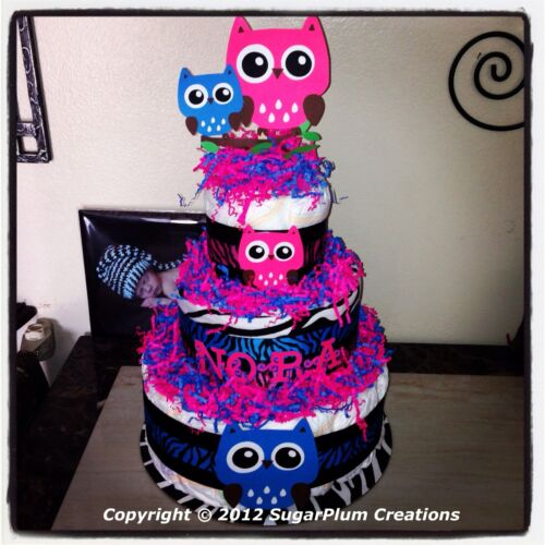 Baby Shower Or Birthday Owl Three Tier Diaper Cake--You Choose Color-