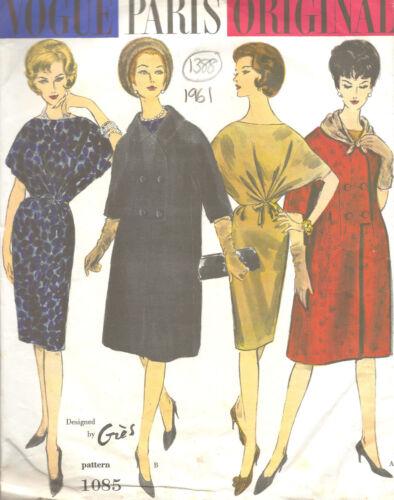 1961 Vintage VOGUE Sewing Pattern B32 COAT DRESS /& SCARF 1388R By Gres