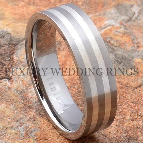 Titanium Mens Wedding Band Ring Silver Inlay Size 6-13