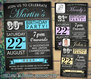 10-Personalised-Birthday-Invites-Party-Invitations-Blackboard-Photo-21st-30th-40