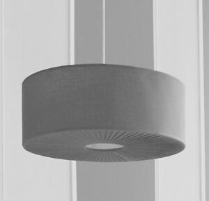 Modern Grey Large Drum Pleated Diffuser Ceiling Light