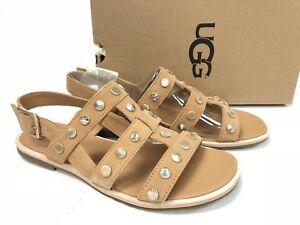 d289b74c2 Image is loading Ugg-Australia-Zariah-Studded-Bling-Latte-Gladiator-Sandals-
