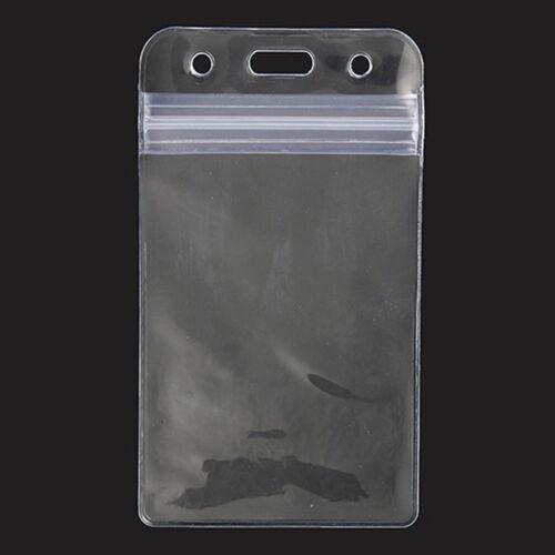 Waterproof Vertical Transparent PVC Plastic Clear Zipper ID Card Holder Pocket