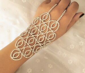 Image Is Loading Crystal Slave Hand Chain Bracelet Bridal Ring