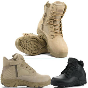 17e21980e65 Men Military Tactical Leather Boots Desert Combat Hiking Outdoor ...