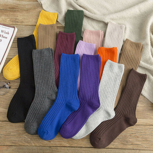 15 Colors Women/'s Solid Autumn Socks Casual Cotton Socks Warm Ankle-High Socks